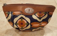 Fossil Key Per Cosmetic Makeup Bag Coated Canvas/Leather Trim, Floral, EUC! | eBay