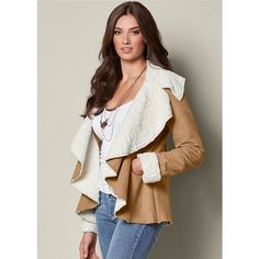 Venus Women's Waterfall Shearling Jackets & Coats ($59) ❤ liked on Polyvore featuring outerwear, coats, natural, shearling coat, sheep fur coat and waterfall coats