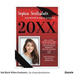 Shop Elegant Red Black White Graduation Announcement created by thepartyshop. High School Graduation, Graduation Ideas, Graduation Announcement Cards, Red Black, Black And White, Graduation Party Invitations, Class Of 2019, Card Sizes, Elegant