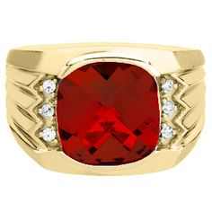 Large Men's Cushion Cut Ruby Diamond Yellow Gold Ring Available Exclusively at Gemologica.com