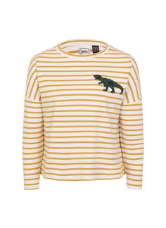 The Dina dinosaur top is a fun twist on a classic Breton style. The embroidered T-Rex patch on a soft jersey means Dina is perfect for relaxed style. Vintage Inspired Outfits, Vintage Style Outfits, Breton Stripes Outfit, Vintage Tops, Vintage Ladies, Joanie Clothing, Striped Jersey, T Rex, Workout Tops
