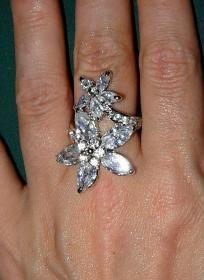 Gorgeous Double Flower 4+ ctw W. Topaz Ring~Solid 925 SS~Sz. 6.5~Heirloom Piece! Sale Sale Sale!