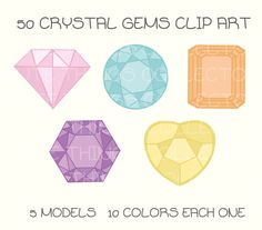 Cute Crystal Gems Jewellery Jewelry  Clip Art Digital Scrapbook Planner Sticker Instant Download Printable Invitation Card Birthday PNG by Cutethingscollector on Etsy