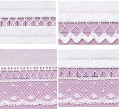 Learn how to use fagoting as an embellishment. Smocking Arts Guild of America - SAGA Stitches Ribbon Embroidery, Embroidery Stitches, Embroidery Patterns, Sewing Patterns, Skirt Patterns, Coat Patterns, Blouse Patterns, Sewing Hacks, Sewing Tutorials