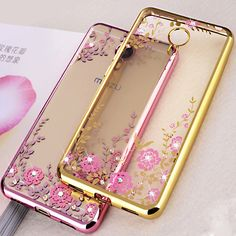 Flower Silicon Case For Meizu M5 Case Bling Diamond Soft TPU Clear Back Cover for Meizu M5 Mini Phone Cases 5.2 inch Funda Para