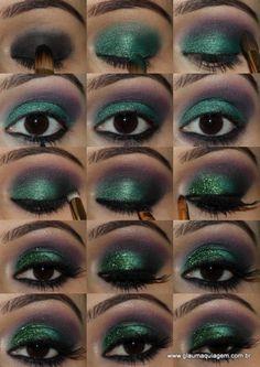 Tutorial Glitter Verde + Sombra Roxa