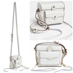 "Rebecca Minkoff White Crossbody - Craig Camera Oh snap! Inspired by a vintage camera case, this Rebecca Minkoff leather crossbody bag is such a sure shot, styled with your favorite black and whites. Crossbody Magnetic closure Small zip pockets at sides, snap pocket at front 5.5""L x 5""H x 3""W; 24"" drop Leather Dust bag included Rebecca Minkoff Bags Crossbody Bags"