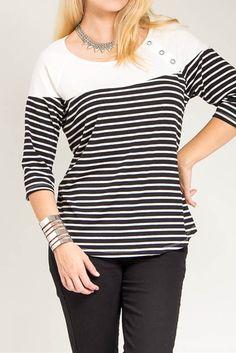 7c4e10ac541 Black Stripe Three-Quarter Sleeve Top - Plus