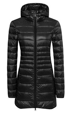Wantdo Womens Lengthed Hooded Packable Ultra Light Weight Down Coat >>> Click on the image for additional details. (This is an affiliate link) #DownParkasCoatsJacketsVests
