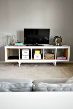 Ikea Tv Stand, Diy Tv Stand, Stand 21, Tv Stand Hack, Tv Stand Storage, Ikea Kallax Shelving, Ikea Kallax Hack, Tv Stand Plans, Hacks Ikea