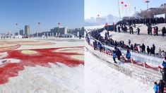 After being certificated by the authorities from the Guinness World Records, new records of the biggest snow painting and the longest ice bar counter have been set in Tonghua City in Jilin Province in China on Saturday.