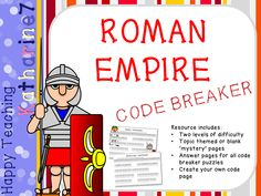 Use this Romans code breaker puzzle to introduce key vocabulary for teaching the 'Roman Empire and its impact on Britain' from the history curriculum. There are two levels of difficulty included as well as a 'create your own' code pa. Teaching Social Studies, Teaching History, Teaching Resources, Romans Ks2, Rome Activities, Primary History, Code Breaker, All Codes, Roman Empire