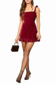 64fdb79206f Reformation Minetta Velvet Minidress Christmas Party Outfits