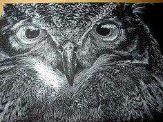 ▶ Owl Scratchboard Art Video 2 - YouTube