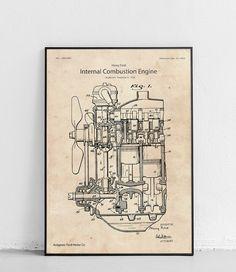 Plakat z reprodukcją patentu silnika spalinowego autorstwa Henry Ford'a.  Patent nr US1993992A został opublikowany w 1935 roku przez Urząd Patentów i Znaków Towarowych Stanów Zjednoczonych. Mens Wall Art, Wall Prints, Canvas Art Prints, Combustion Engine, Car Engine, Patent Prints, Henry Ford, Cotton Canvas, Love Art