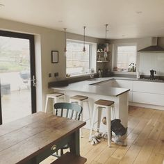 t wouldn't be a family kitchen without a cheeky little monkey scurrying into shot! We ❤️ your pic Don't forget to share a Small Open Plan Kitchens, Open Plan Kitchen Living Room, Kitchen Dining Living, Kitchen Room Design, Family Kitchen, Modern Kitchen Design, Kitchen Layout, Home Decor Kitchen, Interior Design Kitchen