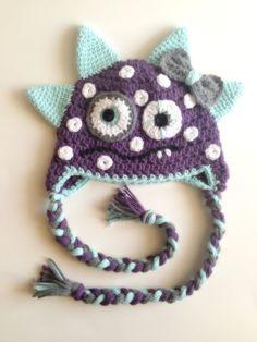 Crochet Purple Monster Hat