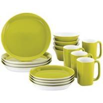 Rachael Ray Round/Square 16-Pc Green Apple Dinnerware Set