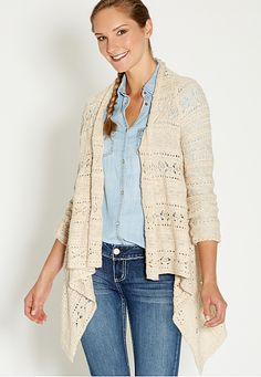 waterfall cardigan with open stitching (original price, $44) available at #Maurices