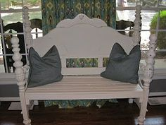 Bench made from a headboard. I wonder if I could convince mom to let me use nanny's old bedset to do this. It would be great for indoor or outdoor patio.