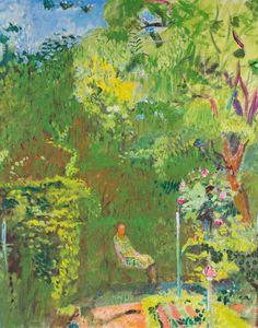 Cuno Amiet (Swiss, 1868-1961), Frau Amiet im Garten [Frau Amiet in the garden], late 1940s. Oil on canvas, 73 x 59 cm.