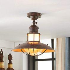 Deckenleuchte Pimpernel Glas Bronze Deckenlampe Antik Laterne rund Flur
