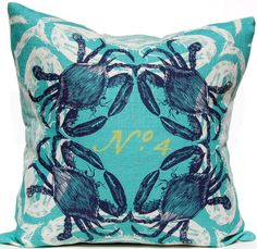 Crab - Ocean Pillow: Beach Decor, Coastal Home Decor, Nautical Decor, Tropical Island Decor & Beach Cottage Furnishings