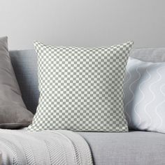 """Desert Sage Grey Green and White Check"" Throw Pillow by podartist | Redbubble"