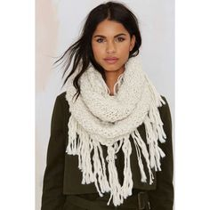 Fringe With Benefits Infinity Scarf ($38) ❤ liked on Polyvore featuring accessories, scarves, white, white scarves, infinity scarves, infinity scarf, round scarf and loop scarf
