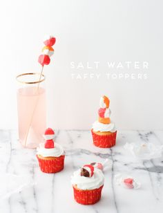 DIY // taffy drink stirrers + cupcake toppers