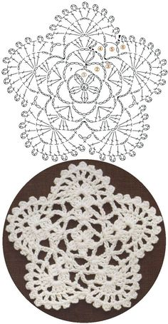 Here's a nice little crochet chart pattern from Sugar_LYS found on a…Pretty little doily; Photo pinned to my crochet boardMingky Tinky Tiger + the Biddle Diddle Dee: Photo Mandala Au Crochet, Crochet Snowflake Pattern, Crochet Motif Patterns, Crochet Circles, Crochet Snowflakes, Crochet Diagram, Freeform Crochet, Crochet Chart, Crochet Squares