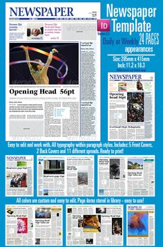 Beautiful Indesign Newspaper Template For 24 Pages Can Be Used Daily Or A Weekly Publication The Masthead Newsp