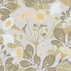 Tropisk Green Floral Brewster Wallpaper Wallpaper Brewster Beiges Greens Oranges Botanical Wallpaper Eco-friendly Wallpaper Floral & Plants Wallpaper Tropical Wallpaper , Non Woven Blend, Easy to clean , Easy to wash, Easy to strip