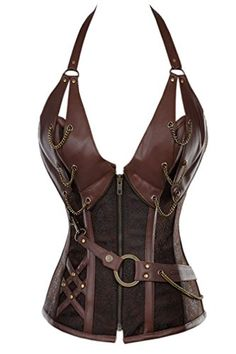 Charmian Womens 14 Spiral Steel Boned Steampunk Retro Halter Leather Bustier Corset Plus Size HeavyStrongSteelHalterBrown XXXXXXLarge ** See this great product.