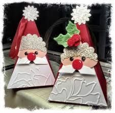 Stampin' Up! Petal Cone Santa A couple of years ago, these little Santas were created in my stamp room with the Stampin' Up! Petal Cone Die, other die cuts and a few punches. Christmas Paper Crafts, Stampin Up Christmas, Noel Christmas, Christmas Projects, All Things Christmas, Holiday Crafts, Christmas Decorations, Christmas Ornaments, Handmade Christmas