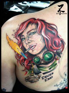 Une charmante soudeuse au chalumeau d'inspiration steampunk. #characterdesign #steampunk #torch #welding #welder #factory #worker #flame #cigarette #smoking #steampunkart #steampunktattoo #personnage #soudeur #chalumeau #soudure #usine #tattoo #tatouage #couleur #tatts #tattooart #tattooartist #colortattoo #zeldabjj #zeldablackjeanjacques #tattoomag #markers #markerdrawing