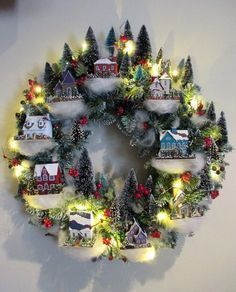 christmas-village-wreath - 30+ Wonderful DIY Christmas Wreaths