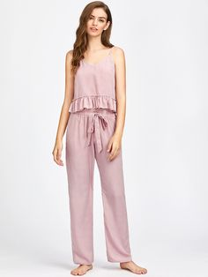 Frill Trim Striped Cami And Belted Pants Pajama Set -SheIn(Sheinside)