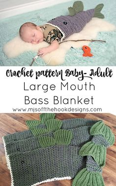 Ravelry: Bulky & Quick Large Mouth Bass Blanket pattern by MJ's Off The Hook Designs Crochet Fish, Easy Crochet, Crochet Ideas, Crochet Projects, Diy Projects, Crochet Baby Blanket Beginner, Crochet Blanket Patterns, Crochet Scarves, Crochet Blankets