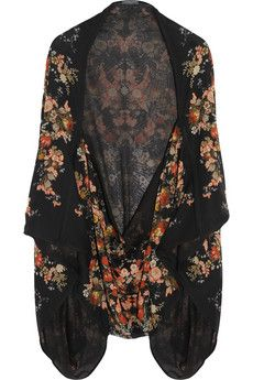 Alexander McQueen printed flowy silk-georgette cape...paired with some leggings & tall boots or boyfriend denim shorts