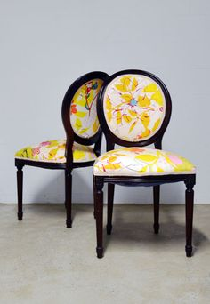 Refurbished Kings: Louis XVI dining chairs- would use different fabric.