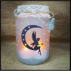 Check out this item in my Etsy shop https://www.etsy.com/uk/listing/275496834/moon-fairy-jar-silhouette-candle-holder