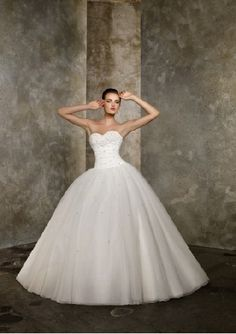 I'm Not Craziest About Ball Gown Wedding Dresses, but This is Stunning. I'd Love White Gloves with a Little Bling Just to Add to the Cinderella Ball Look