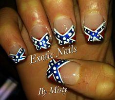 Rebel flag nail art. Love it <3