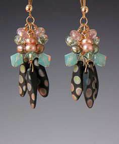 Beaded earrings by Kay Bonitz.  Love the color choices!