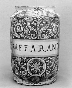 Albarello da speziera, Italy; majolica, circa 1573