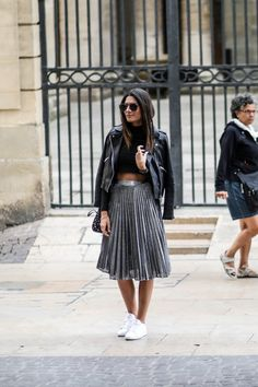 Moto Jacket + Pleated Midi Skirt + Sneakers