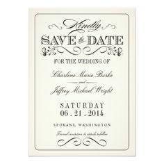 Vintage White Elegant Save the Date Card