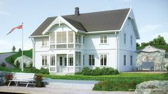 Svalen er et kataloghus i sveitserstil Home Fashion, Norway, Outdoor Living, Villa, Cabin, Mansions, Interior Design, Architecture, House Styles