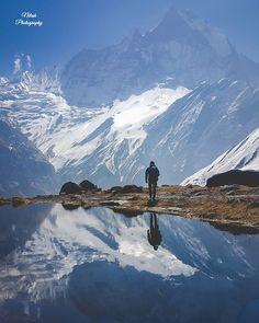 Magical Reflection, Way to Annapurna Base Camp 👌 Photo: Nitesh Raj Shah Nepal Kathmandu, Bhutan, Nepal Culture, Zen Attitude, Nepal Trekking, Bungee Jumping, Mountain Climbing, Pilgrimage, Where To Go